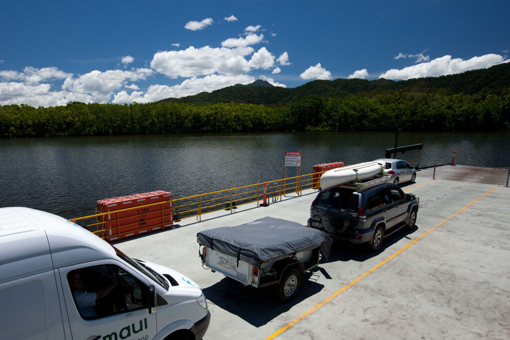 Vehicles on board the Daintree Ferry. Image by Tourism Tropical North Queensland.